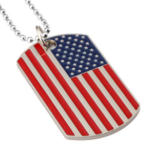 American Flag Dog Tag Style Necklace