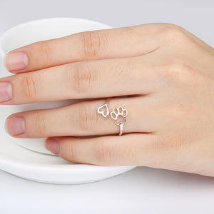 Silver Puppy Paw & Heart Ring