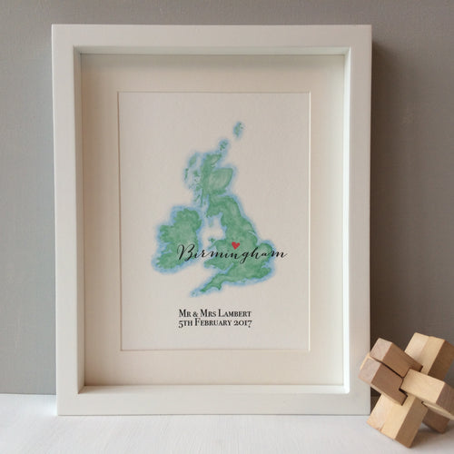 Personalised Watercolour Map of Britain