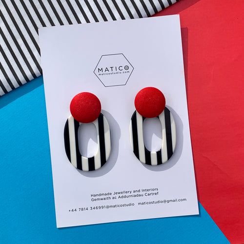 Red and Monochrome Earrings