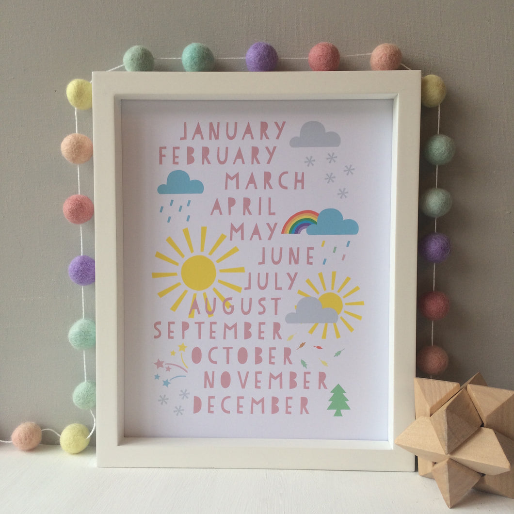 Months of the Year Pastel Print
