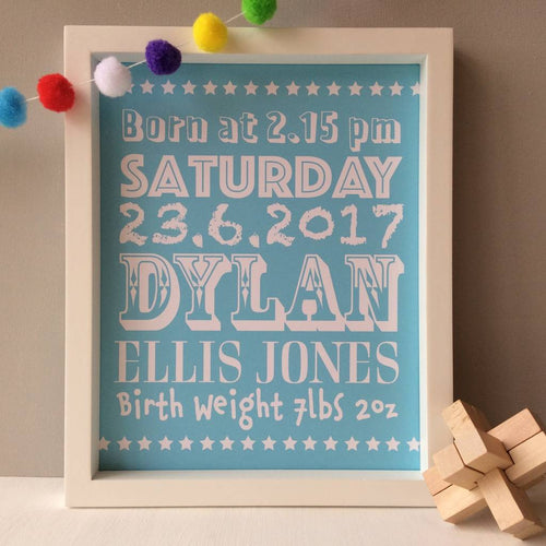 Personalised Baby Boy Print