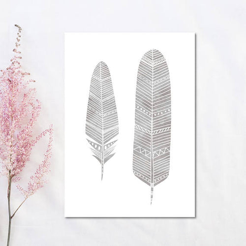 Grey Feather Print