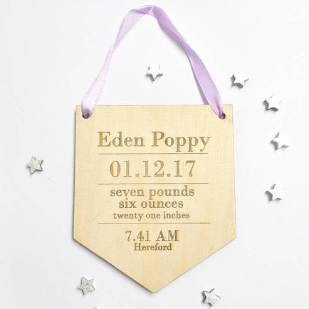 welsh personalised new baby banner pluen
