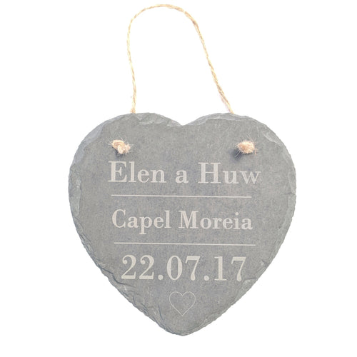 Welsh Personalised Slate Heart