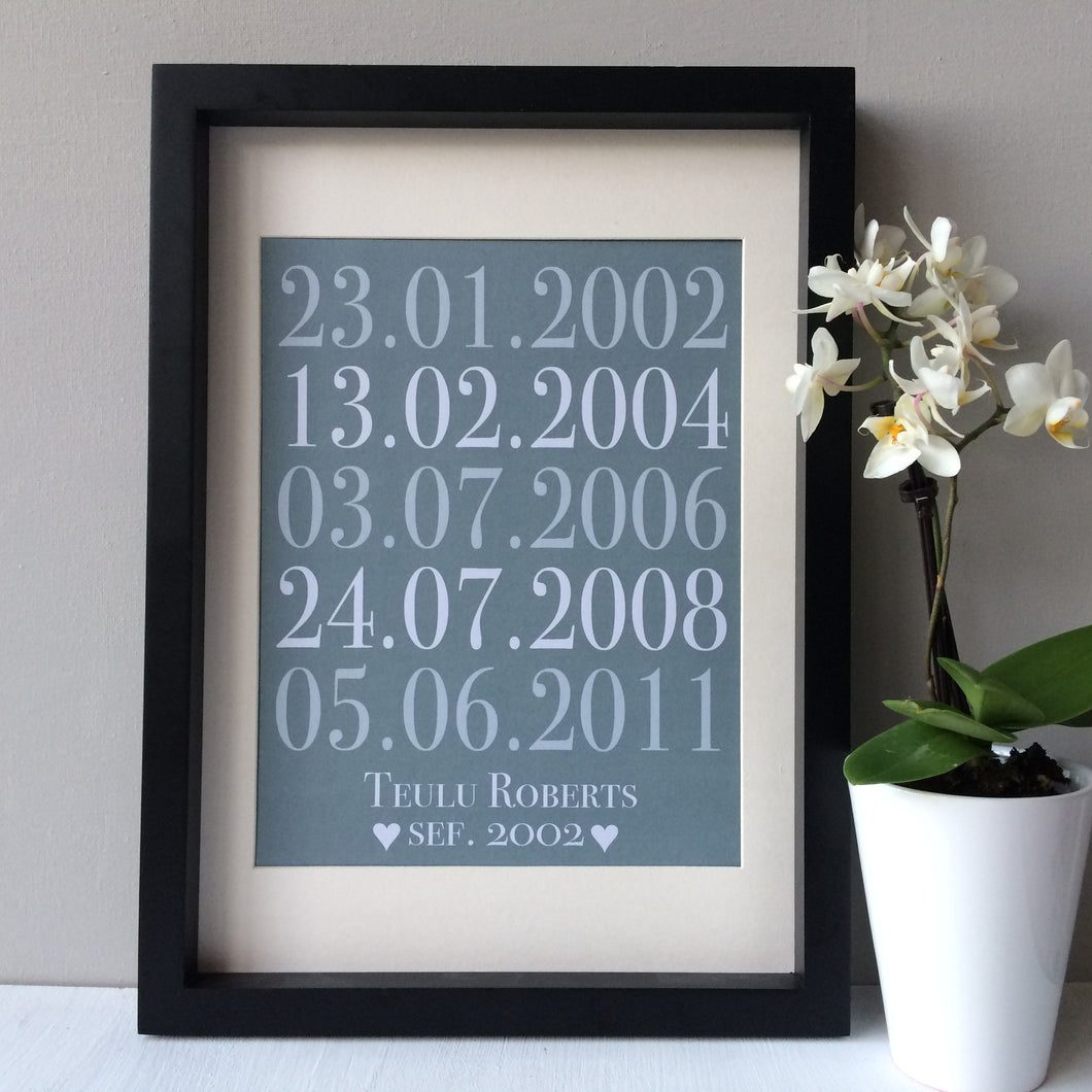 Welsh Family Special Dates Print