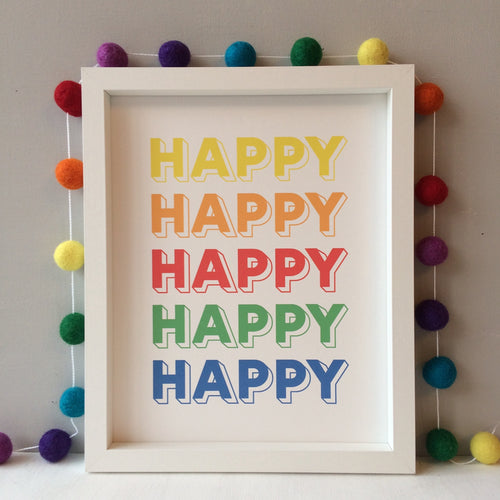 Happy Happy Rainbow Print
