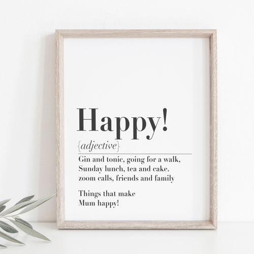 Mother's Day Personalised 'Happy' Print