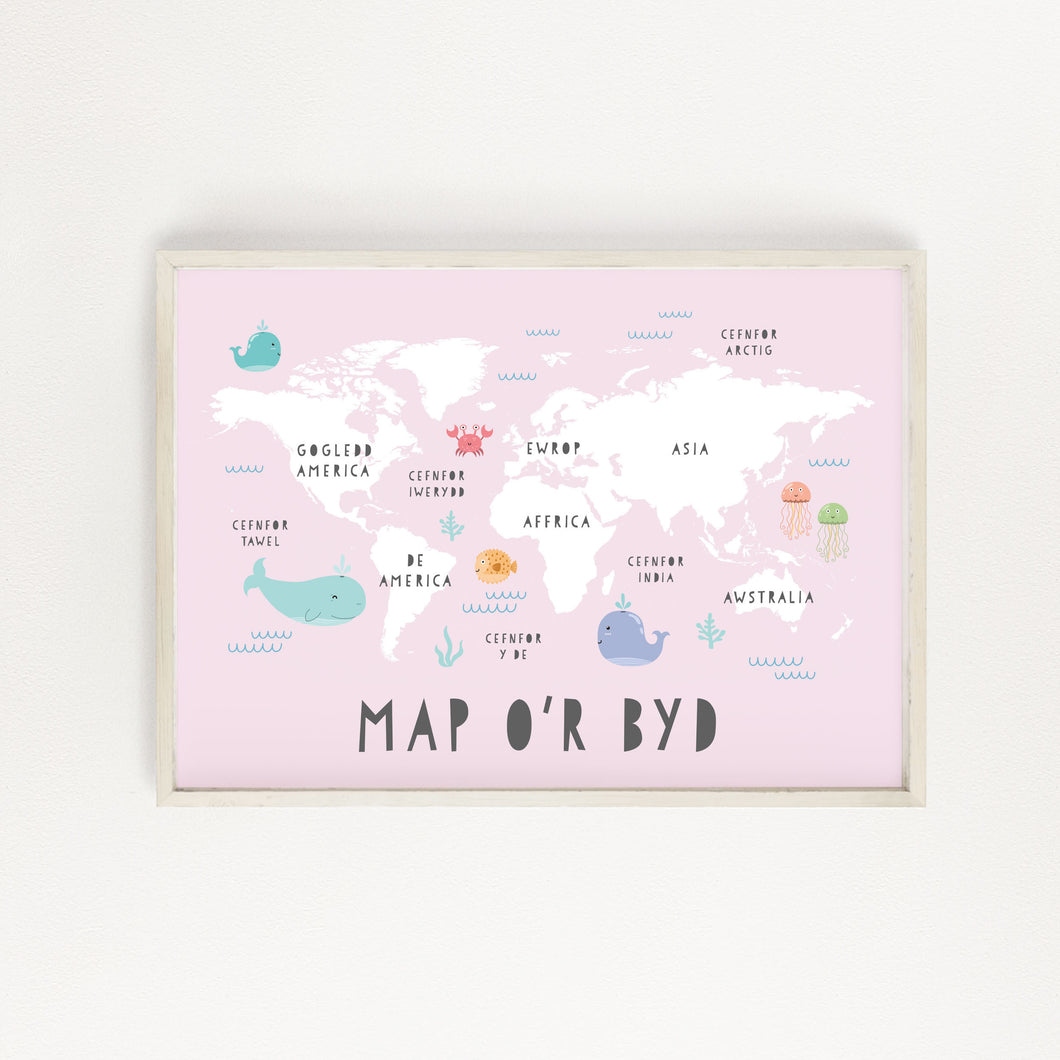 Pink World Map Print