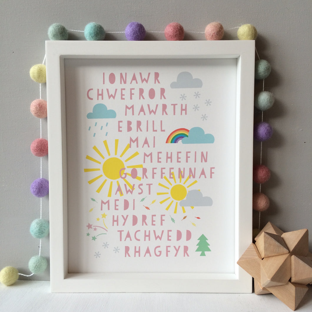 Welsh Months of the Year Pastel Print