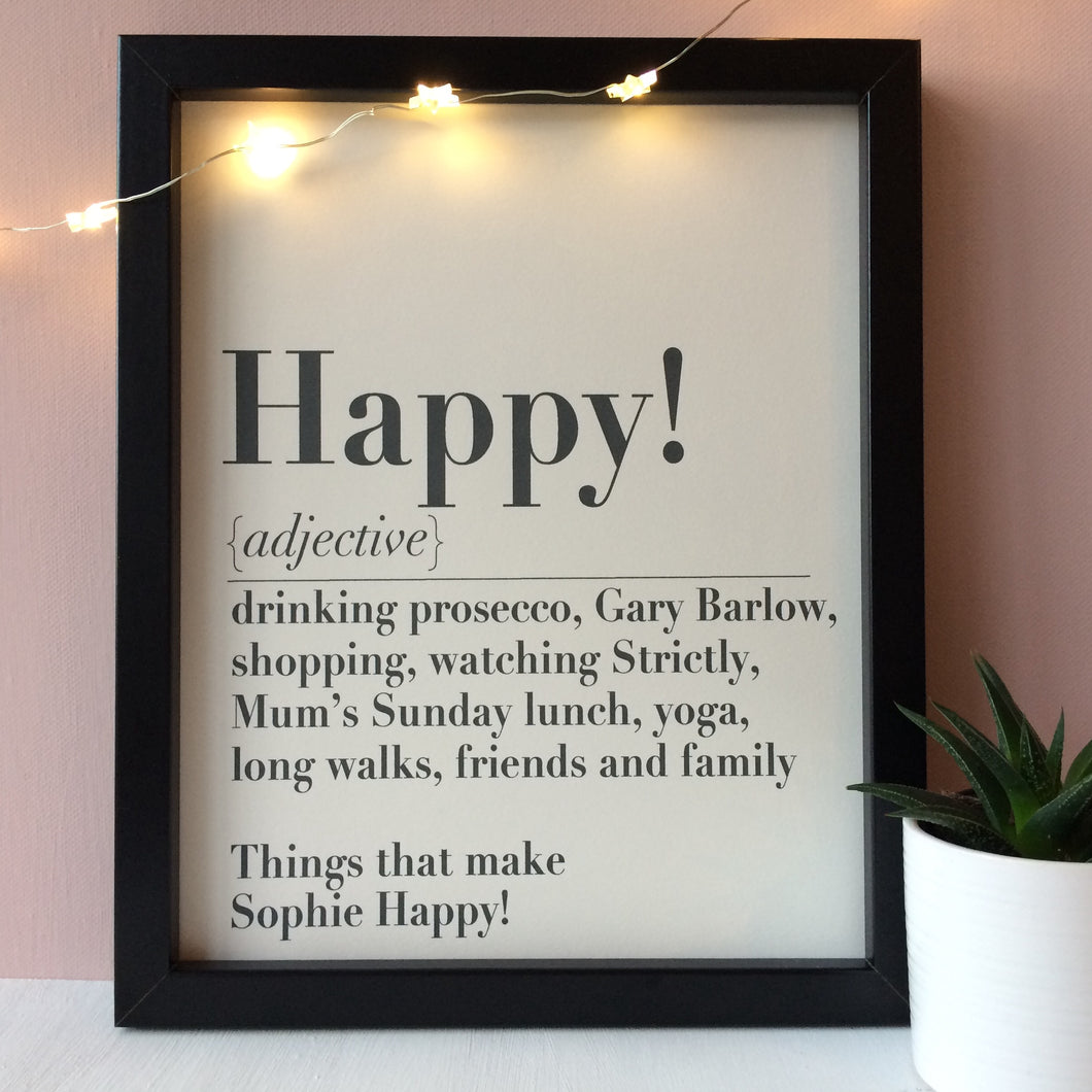 Personalised 'Happy' Print