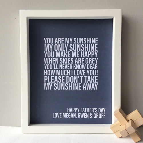 Personalised Father's Day Song Lyrics Print