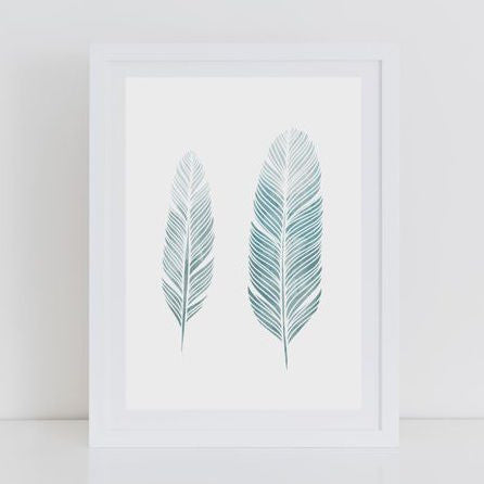Petrol Blue Feather Print