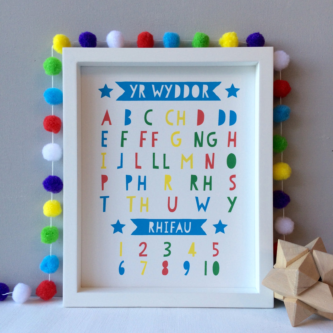 Welsh Alphabet and Numbers Print