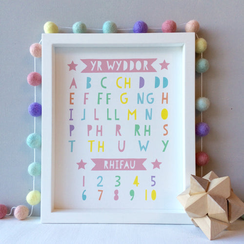 Welsh Alphabet and Numbers Pastel Print