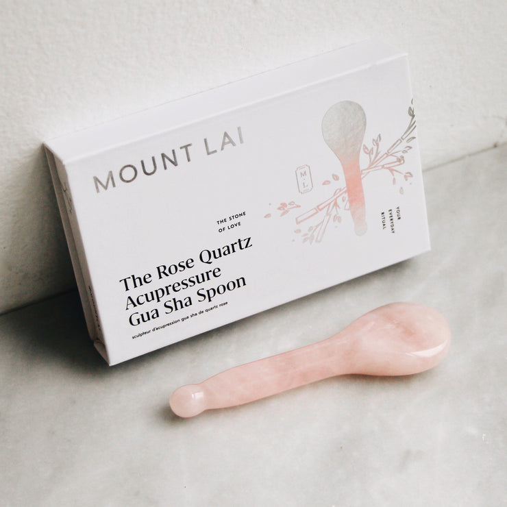 The Rose Quartz Acupressure Gua Sha Spoon