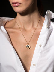 LEATHER & PEARL PENDANT