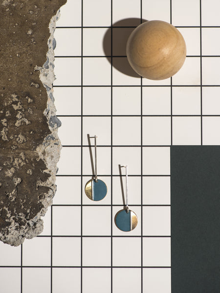 BLUE & BRASS EARRINGS No. 1