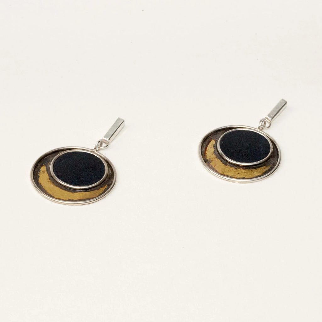 LEATHER & GOLD DROP EARRING