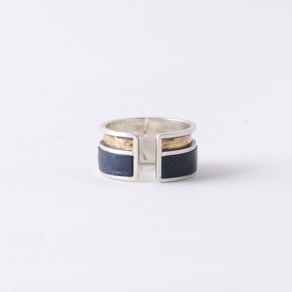 NAVY & GOLD INLAY RING
