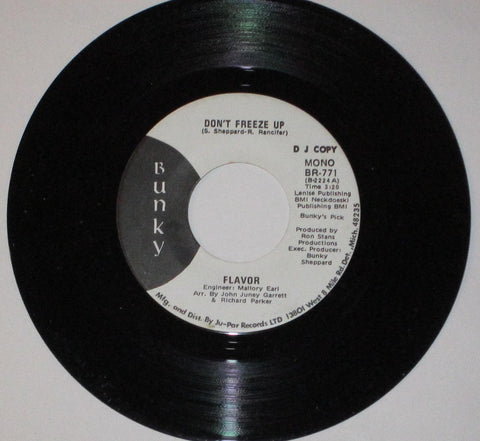 "Flavor - Don't Freeze Up 7"" Mono / Stereo Promo"
