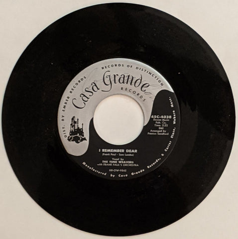 Tune Weavers - I Remember Dear b/w Pamela Jean 7""