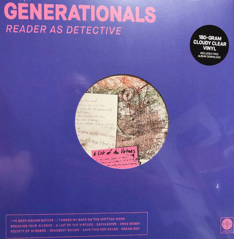 Generationals - Reader As Detective LP Ltd. Ed. Cloudy Clear Vinyl