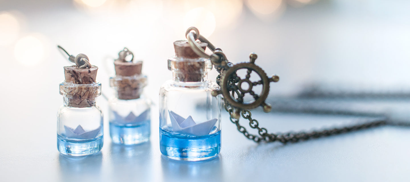 Ocean inspired Paper boat necklaces and earrings | 13th Psyche