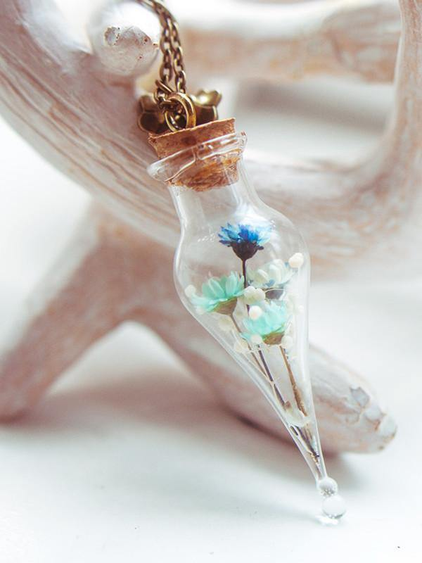 Handmade Blue real dried flower bouquet teardrop vial necklace | 13th Psyche