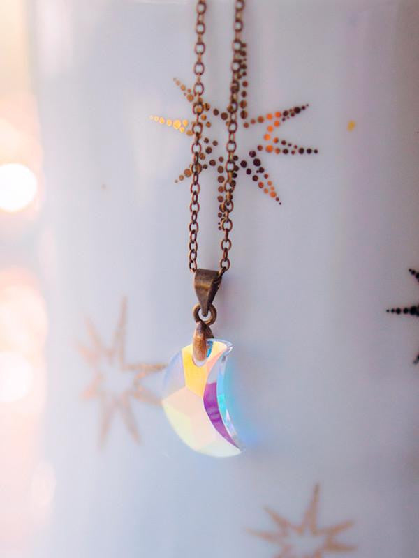 Handmade White swarovski moon choker necklace | 13th Psyche