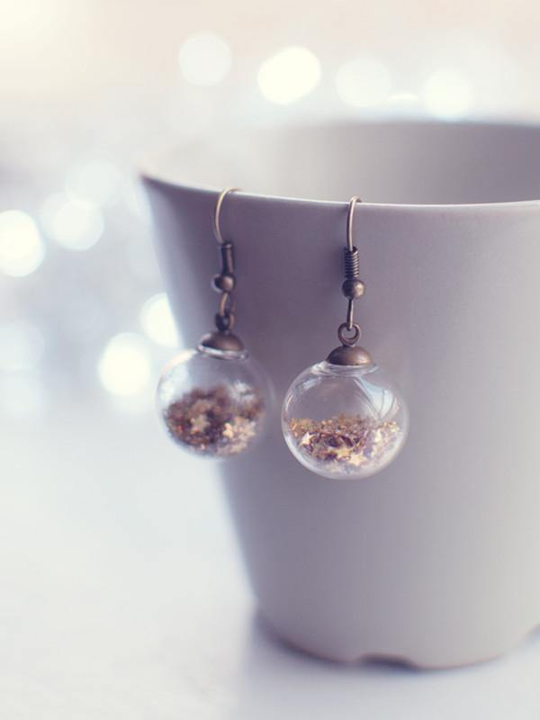 Handmade Custom glitter stars colour glass globe earrings | 13th Psyche