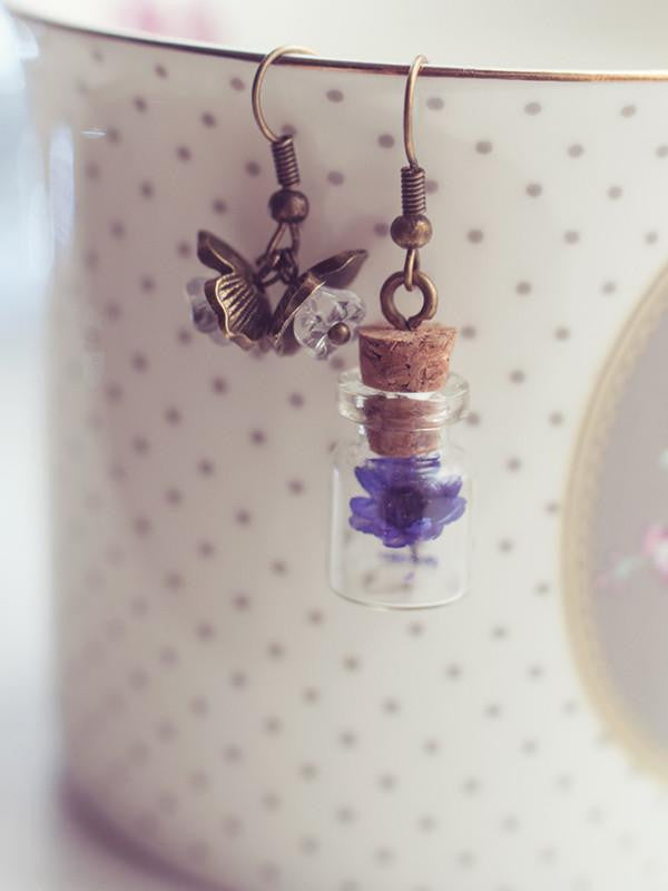 Handmade Real dried flower glass bottle earrings | 13th Psyche