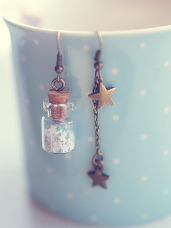 Handmade Glitter stars glass bottle earrings | 13th Psyche