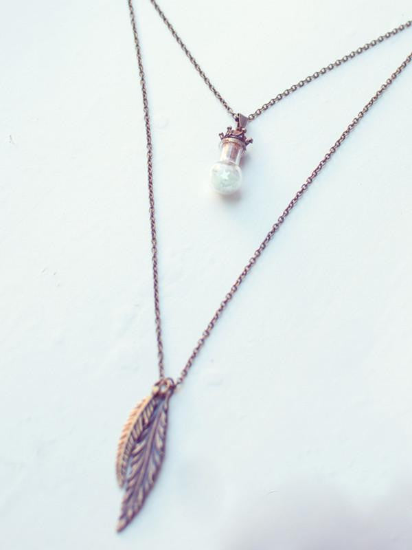 Layered bohemian bottle pendant necklace set - 13th Psyche
