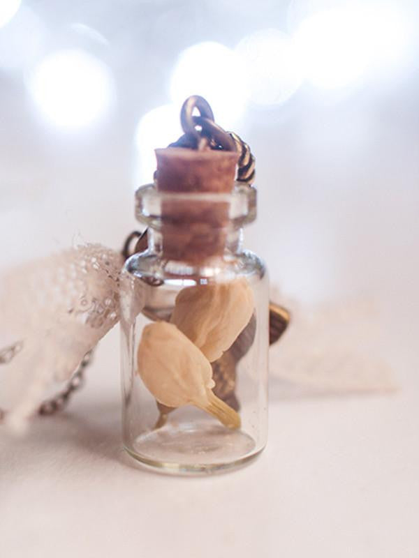 Handmade Dried flower jasmine bottle pendant necklace | 13th Psyche