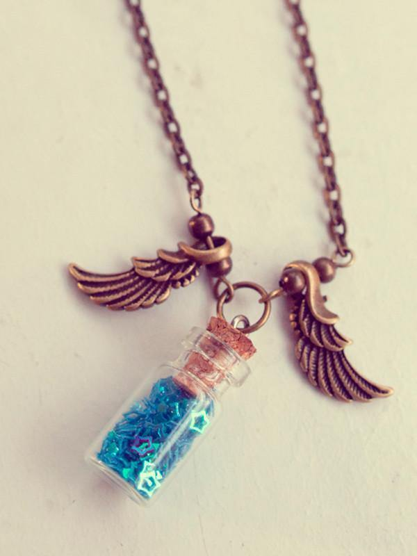 Handmade Angel wings glass bottle pendant necklace with glitter stars | 13th Psyche