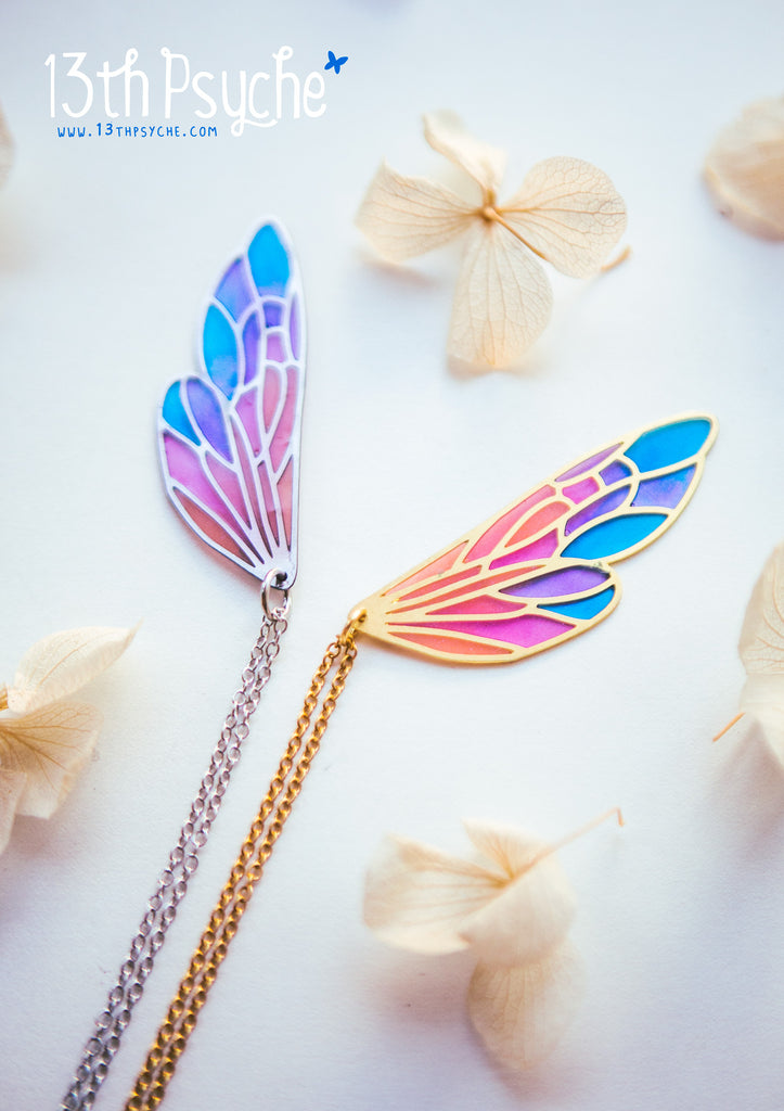 Handmade Stained glass inspired fairy wing pendant necklace | 13th Psyche