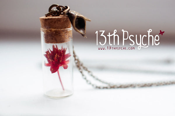 Handmade Real red dried flower vial pendant necklace | 13th Psyche
