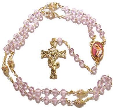 Mystical Rose Gold & Glass Rosary