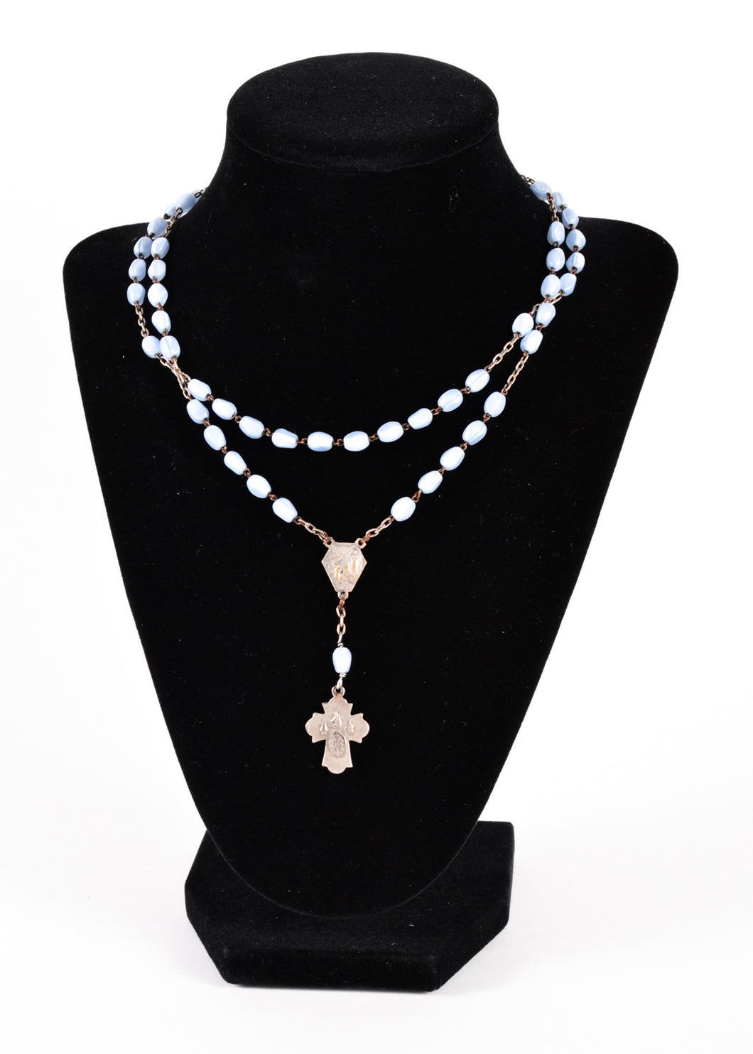 White Rosary With Glass Beads & Silver