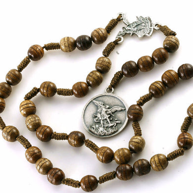 Carved Wood St Michael Archangel Chaplet Rosary Beads