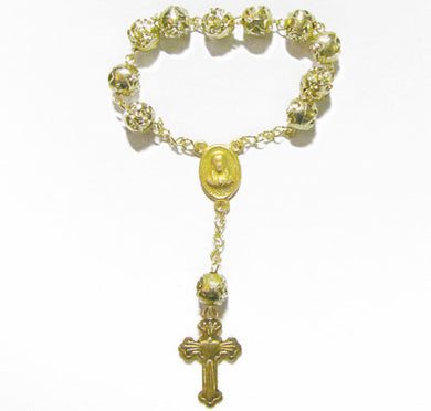 One Decade Gold Toned Rosary
