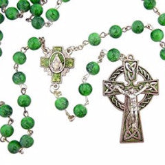 Irish Rosary With Celtic Cross & Green Beads