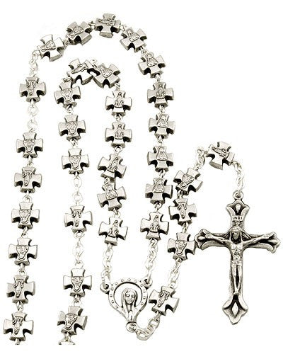 Madonna Rosary With Metal Cross Beads