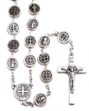 Saint Benedict Round Beads On Silver Tone Chain