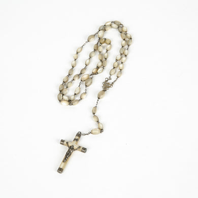Silver and Mother of Pearl Rosary - Antique Rosary