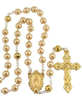 Gold Toned Ave Maria Rosary With Pearlized Glass Beads
