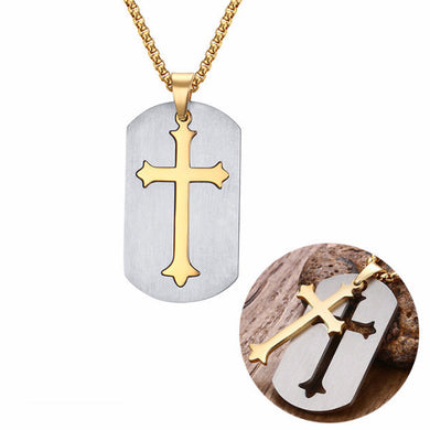 Removable Cross Dogtag Necklace With 24