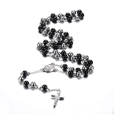 Black & Silver Stainless Steel Durable Rosary Beads