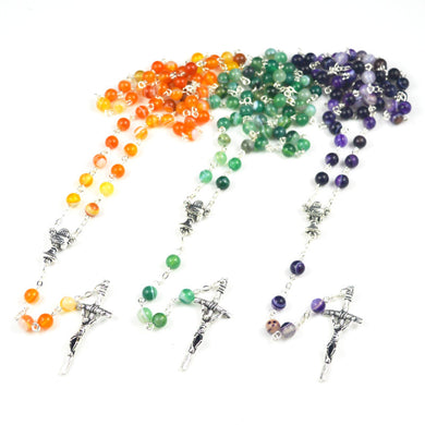 Agate First Communion Rosary In Purple, Green, & Orange